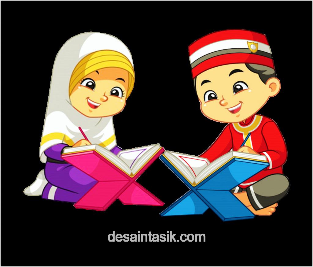 Gambar Kartun Anak Muslim Mengaji Vector